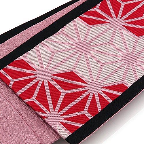 さまよう海峡ひもデータベースレディース 小袋帯 浴衣用 (長尺) 日本製 古典 麻の葉柄 赤系