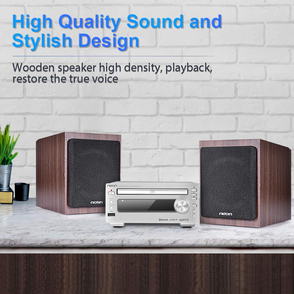 Bluetooth Stereo System - Music Streaming System w/ CD Players, FM Radio, MP3, SD Slot, USB, Remote Control, AUX, Headphone Jack, HiFi Digital Audio System Perfect for Home Cinema, MCB1533 by Neon (Image #3)