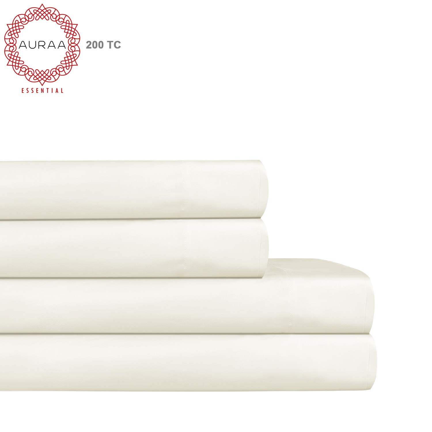 AURAA ESSENTIAL 100/% Cotton Peached Percale Sheet Set 4 Piece Set Feather Soft Queen Sheets DEEP Pocket,Big Sale Days,Oeko-TEX Certified White GHCL