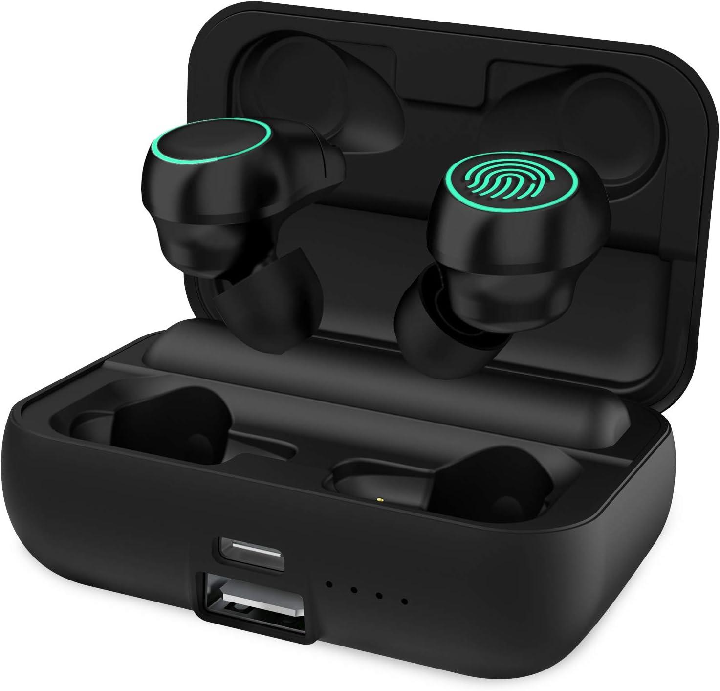 HolyHigh Auriculares Bluetooth 5.0 con 3000mAh Estuche de Carga Auriculares Inalámbricos Cascos Bluetooth 120 Horas de Reproducción Micrófono Impermeable para iPhone Android Huawei para Deporte Correr