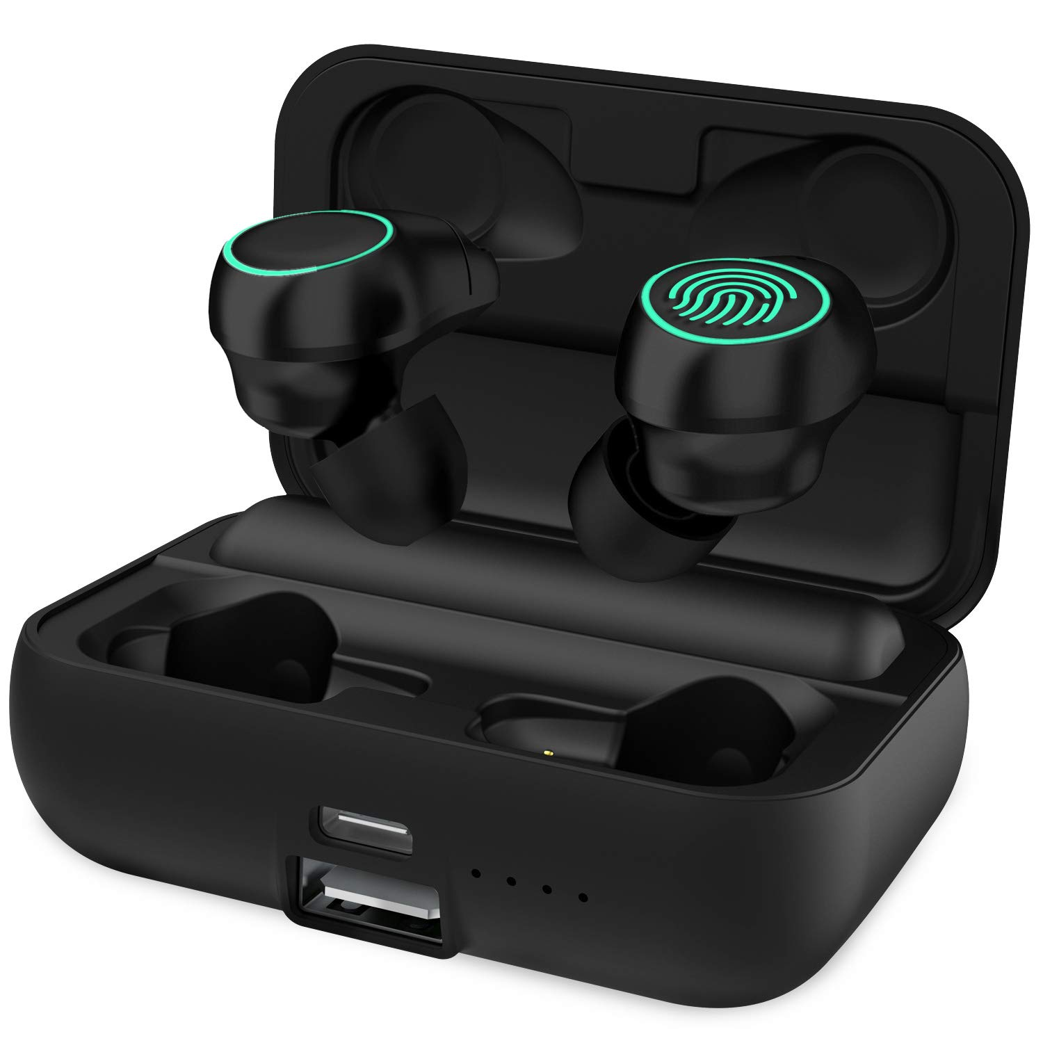 HolyHigh True Wireless Stereo Bluetooth 5.0 Earbuds with 3000mAH Charging Case,120H Playtime Deep Bass Noise Cancellation Waterproof Earphones, in-Ear Headphones with Built-in Mic for iPhone Android