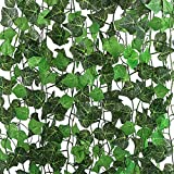 CEWOR 16 Pack 126ft Artificial Ivy Garland Vine Green Leaf Plant Fake Hanging Leaf Plant Vine for Wedding Party Home Garden Kitchen Wall Office Outdoor Decor