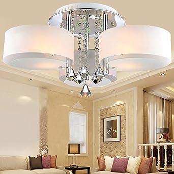 LOCO LED Modern Acrylic Crystal Chandelier 3 Lights Chrome Ceiling Light Fixture