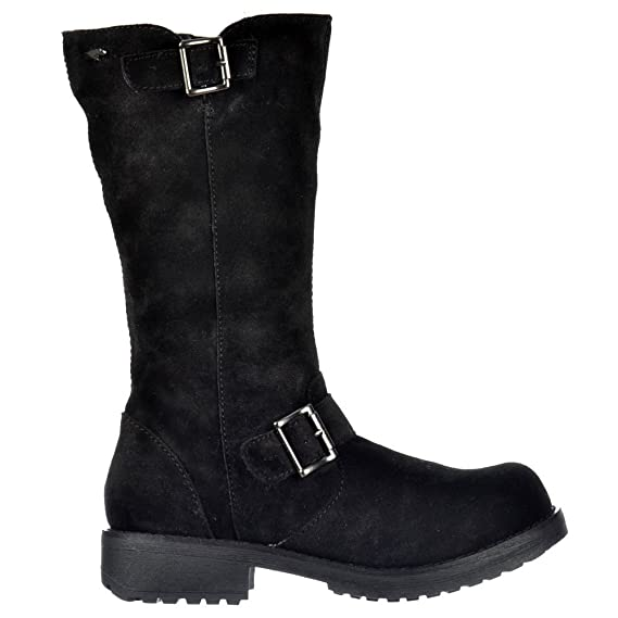 839a593b180e3 Ladies Womens Rocket Dog KnockOut Mid Calf Biker Boot - Full Leather Oiled  Suede - Black