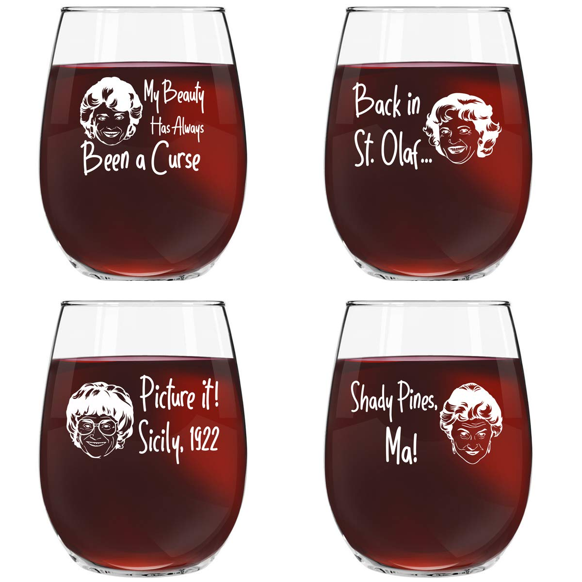 Golden Girls Inspired Stemless Wine Glass Set of 4 (15 oz)- Funny Novelty Glasses for Party, Event, Girls Night- Unique Birthday Gift For Mom, Women Best Friend- Fun Drinking for Bachelorette Parties by DU VINO