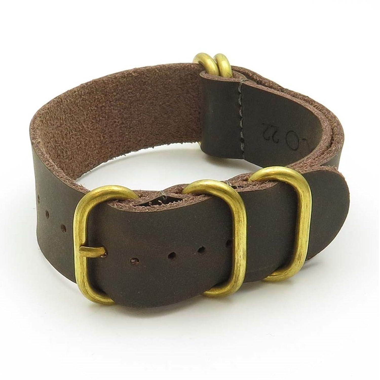 StrapsCo Leather G10 Nato Zulu 時計ストラップ こげ茶色 ソリッドな青銅リング付 サイズ 20mm  B00YQG1Y72