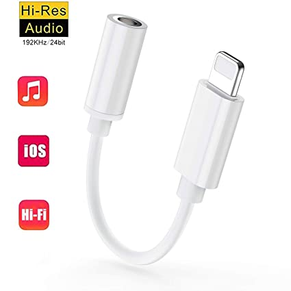 Kopfh/örer f/ür iPhone 7 Adapter-Anschluss AUX 3,5 mm Kopfh/örer-Adapter f/ür iPhone //8//8 Plus//X//XS//XR Converter Zubeh/ör Kopfh/örer-Kabel-Splitter Audio-Buchse Ohrh/örer-Adapter Unterst/ützt alle iOS