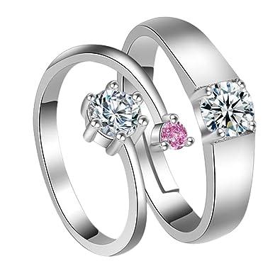 Cosanter 1 par moda anillo de diamante en forma redonda elegante cristal anillos ajustables joyería de