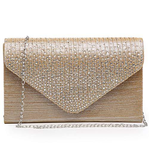 Dasein Women Evening Envelope Handbag Party Prom Clutch Purse Shoulder Cross Body Bag (Gold)