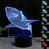 NOCHX Jaws Great White Shark 3D Illusion LED Night Light 7 Colourful Table Desk Lamp