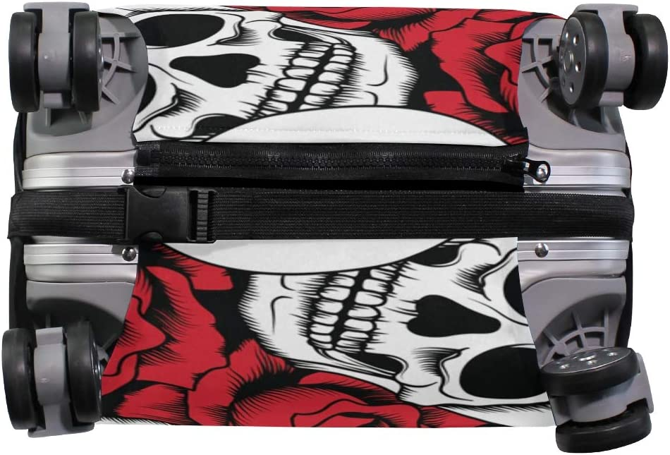 ALAZA Luggage Protector,Romantic Skull Roses Elastic Travel Luggage Suitcase Cover,Washable and Durable Anti-Scratch Case Protective Cover for 18-32 Inches