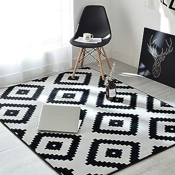 Ukeler Modern Black and White Rug Non Skid Soft Floor Accent Rugs for  Living Room/Bedroom/Kids Room, 59\'\'x74.8\'\'