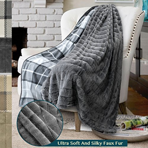 - PAVILIA Premium Plaid Fleece Faux Fur Throw Blanket | Super Soft, Cozy, Lightweight Microfiber, Reversible, All Season for Couch or Bed (Charcoal, 50 x 60 Inches)