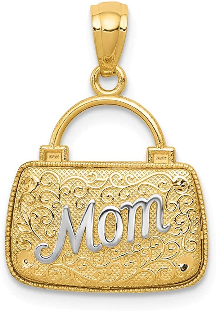 14k /& Rhodium Reversible Mom Handbag Pendant