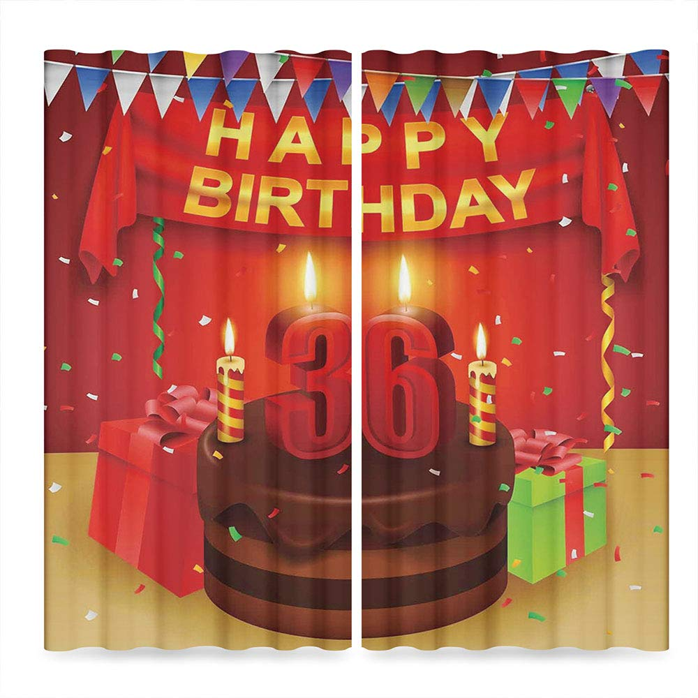 C COABALLA 36th Birthday Decorations Windows Blackout Curtain,Celebration Party with Cake Candles and Presents Print,Living Room Bedroom Décor, 2 Panel Set, 28W X 39L Inches