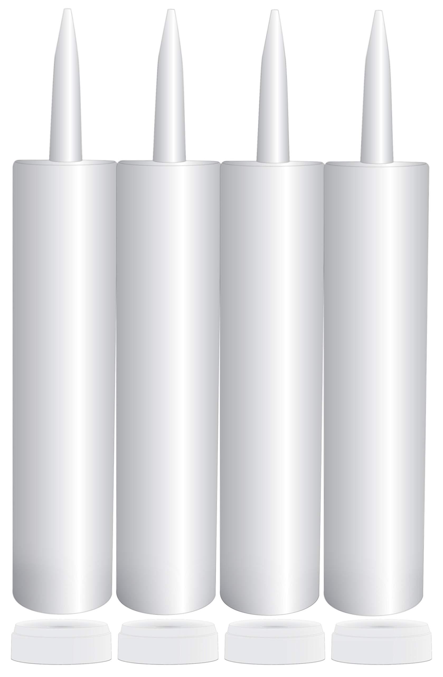 Empty Plastic Caulk Tubes, 11-Ounce (4-Pack); Refillable Sealant Caulking Tubes by Cornucopia Brands
