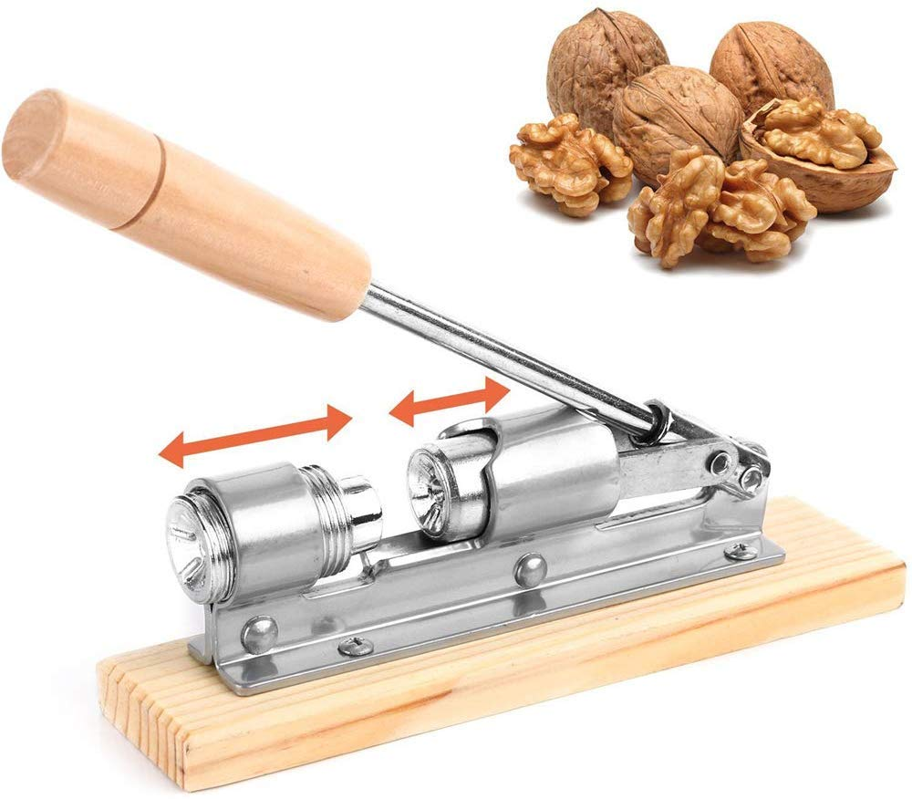 Chestnut Peeler, Nut Cracker Tool, Desktop Wood and Metal Walnut, Good Heavy Duty Pecan Nut Cracker Tool with 4 Picks, Wood Base & Handle with Desktop Wood Base & Handle by HJJH