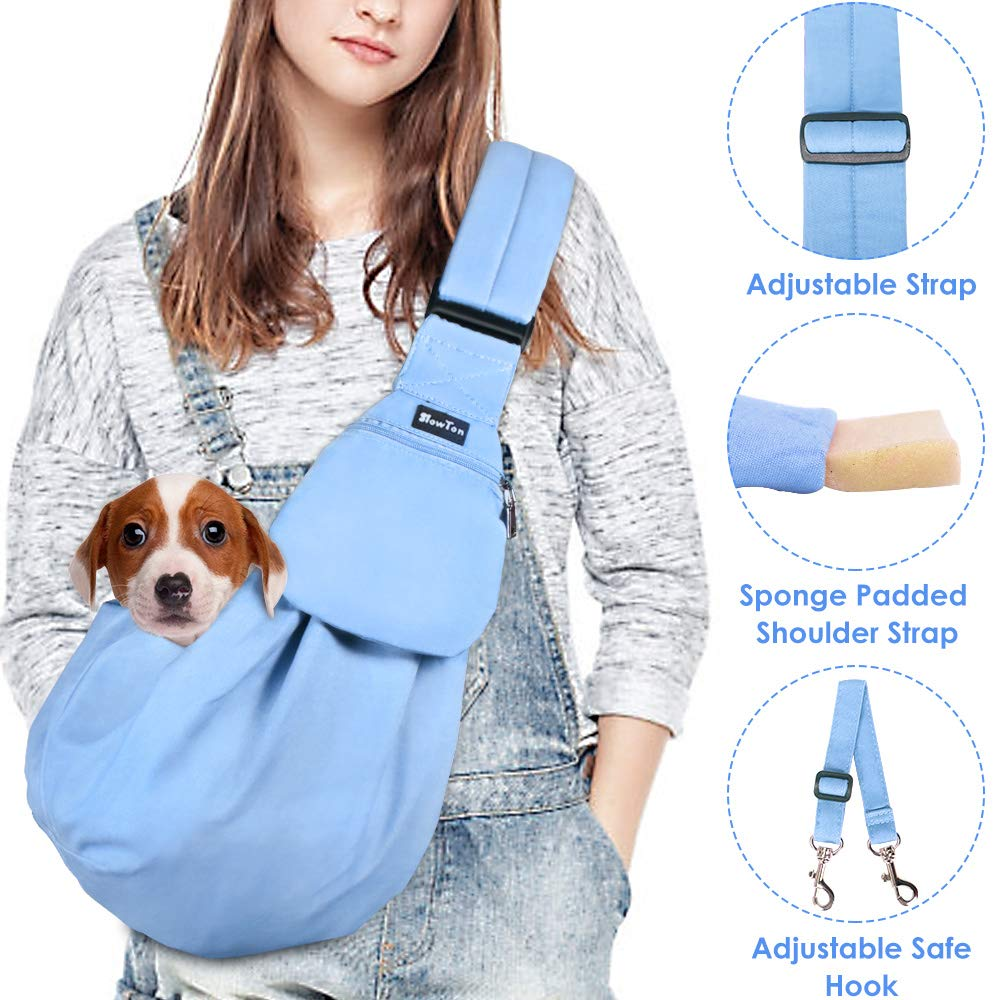 SlowTon Pet Sling, Hand Free Dog Carrier Adjustable Padded Strap Tote Bag Breathable Cotton Shoulder Bag Front Pocket Safety Belt Carrying Small Dog Cat Puppy Machine Washable (Blue) by SlowTon