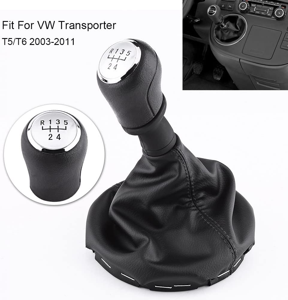 5 Speed Manual Black Gear Shift Knob Kit Gaiter Boot Cover Leather Gear Stick Cover Dust-Proof Replacement For T5 T5.1 T6