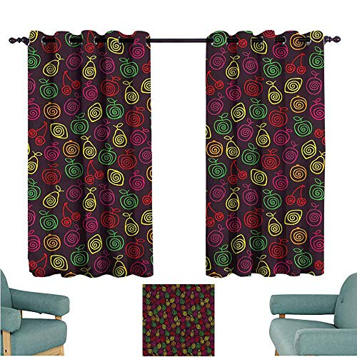 - Kids Curtains Fruits Apples Cherries Pears for Bedroom Grommet Drapes W63x45L