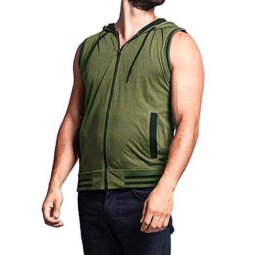 Leegor Mens Solid Sleeveless Quick Dry Sport Tank Top for Outdoor Camping Zipper Training Vest
