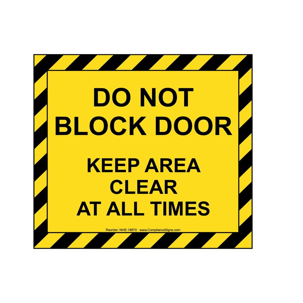 ComplianceSigns Vinyl Self-Adhesive Floor Label, 36 x 32 in. with Exit Do Not Block Info in English
