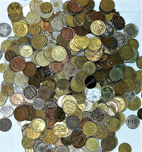 1 FULL POUND OF OLD TOKENS PLUS 5 DIFFERENT OLD WORLD COINS BONUS...TOKENS ARE ALL METAL FROM DIFFERENT BUSINESS ARCADE, AMUSEMENT TRANSPORTATION,,,ETC...