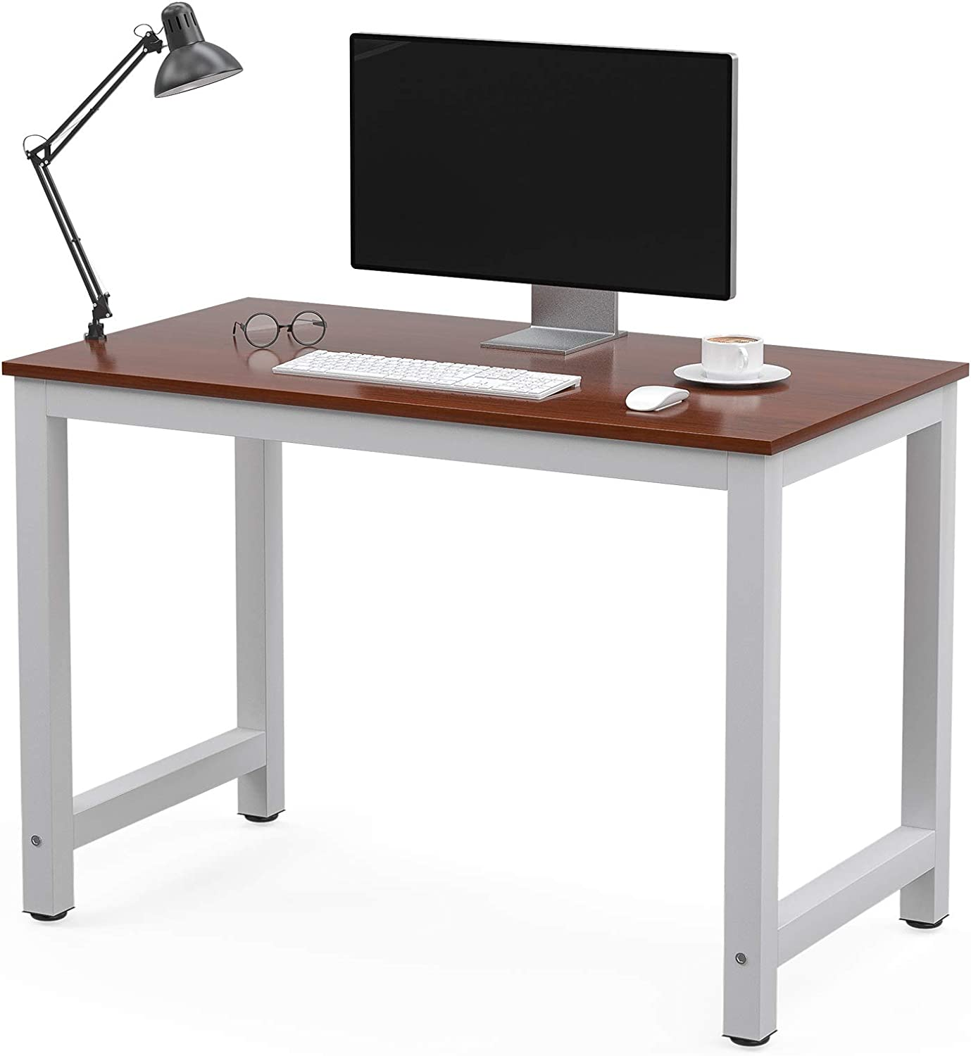 """Mecor Computer Desk 43"""" Modern Sturdy Office Desk PC Laptop Notebook Study Writing Table for Home Office Workstation(RED)"""