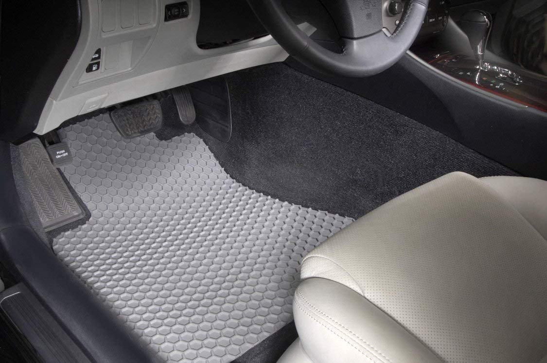 Rubber-Like Compound Custom Fit Auto Floor Mats for Select Lexus RX450h Models Intro-Tech LX-685-RT-C Hexomat Front and Second Row 4-Pc Clear