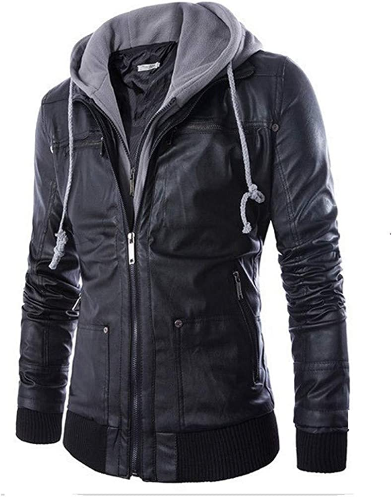 Sonnena Mens Vintage Removable Jacket Hooded Slim Motorcycle Faux Leather Bomber Zipper Outwear Warm Coat