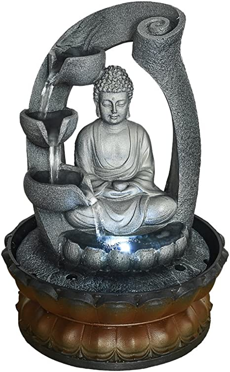 MZBZYU Fuentes de Agua Interior Zen Decoracion Feng Shui Resina Artesan/ía con Luz LED Bola Rodante y Nebulizador Decoraci/ón Creativa para Oficina Sala de Estar Dormitorio