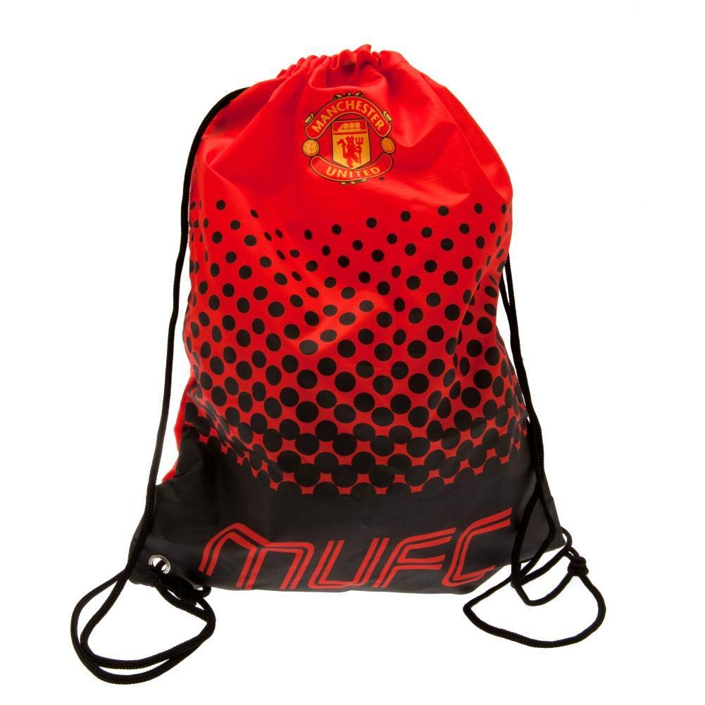17.3 x 13in Red//Black Manchester United FC Fade Design Drawstring Gym Bag