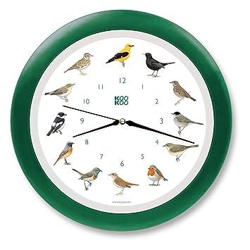 KOOKOO Singvögel quartz verde, reloj de pared con 12 pájaros cantores, nativos, grabaciones originales de la naturaleza, reloj con sensor de luz: Amazon.es: ...