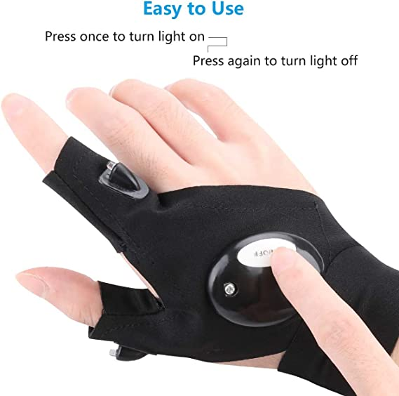 Details about  /Finger Glove with LED Light Flashlight Gloves Outdoor Night Fishing 1 pair US