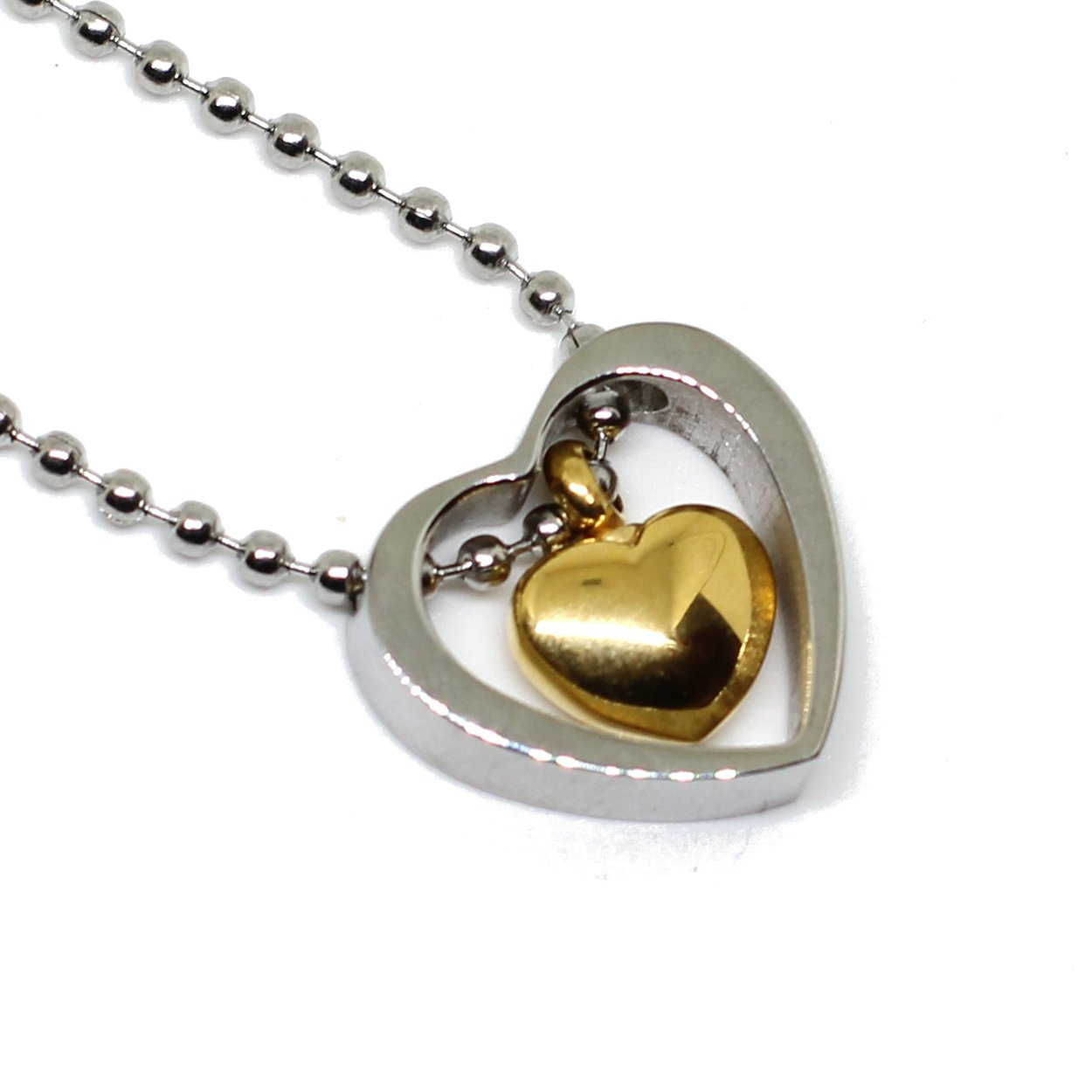 Lauren Annabelle Studio Cremation Jewelry Heart in Heart Urn Ashes Stainless Steel Pendant Necklace Men Women 2 Pendants in 1