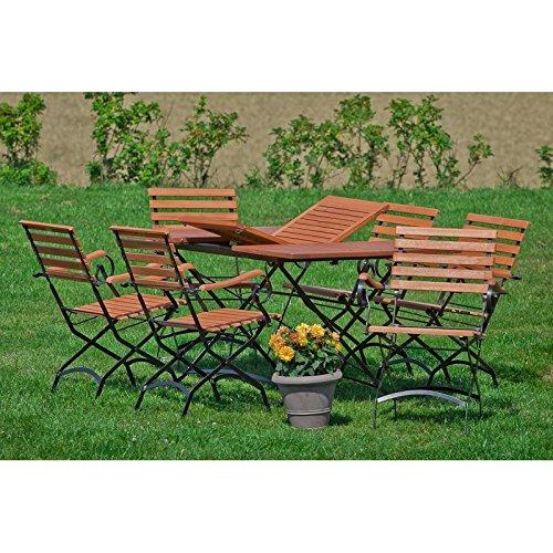 Schlossgarten Gartenmöbel Sitzgruppe MECINA-29 Eukalyptusholz geölt, Flachtstahl graphit, 6 Klapp-Sessel, 150cm Ausziehtisch