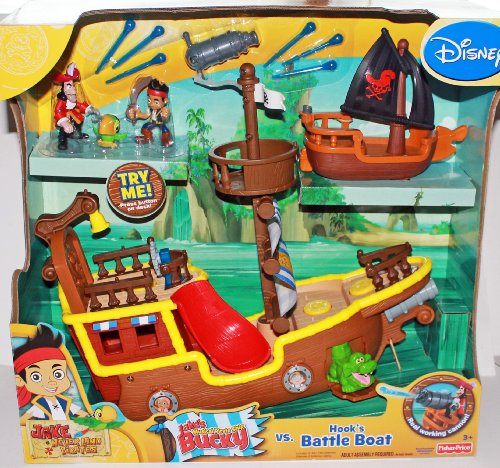 Disney Jake and the Neverland Pirates Gift Set - Jake's Musical Pirate Ship & Hook's Battle Boat with Figures
