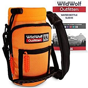 Water Bottle Holder for 32oz Bottles by Wild Wolf Outfitters - Orange - Carry, Protect and Insulate Your Best Flask with This Military Grade Carrier w/ 2 Pockets & an Adjustable Padded Shoulder Strap