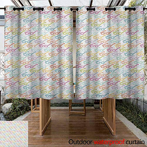 - Indoor/Outdoor Curtains,Indie,Colorful Pattern with Classical Old Fashioned Eyeglasses Nerd Smart Hipster Doodle,Darkening Thermal Insulated Blackout,K160C183 Multicolor