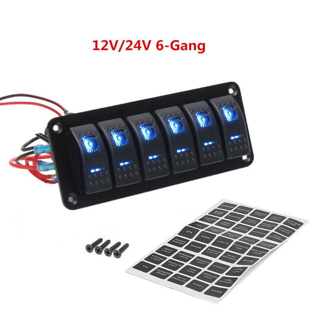 Fahrzeugen Futurepast Wippenschalter Wippschalter Panel Rocker Schalter Panel IP65 Wasserdicht 6 x LED Wippschalter Schiffen Yachten Wohnwagen