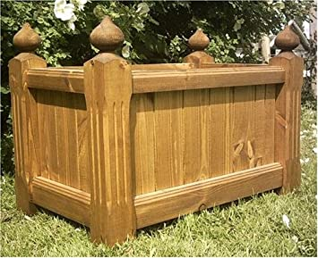 Large Wooden Trough Planter Amazon Co Uk Garden Outdoors