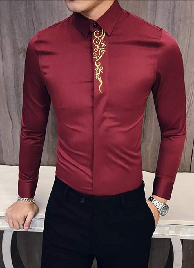 UUYUK Men Embroidery Lapel Collar Long Sleeve Regular Fit Vintage Button Down Dress Work Shirt