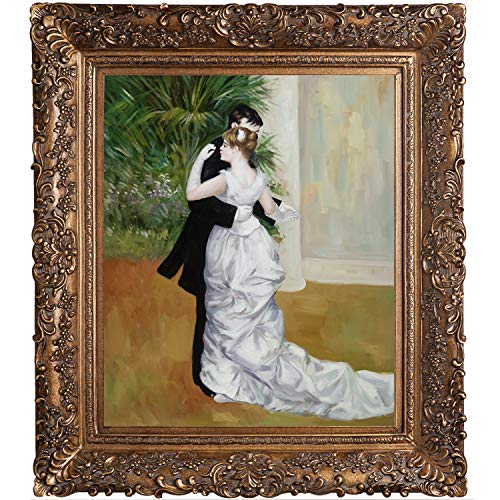 overstockArt Renoir Dance in The City Canvas Art in Burgeon Gold Frame, Organic Pattern Facade with Gold Finish