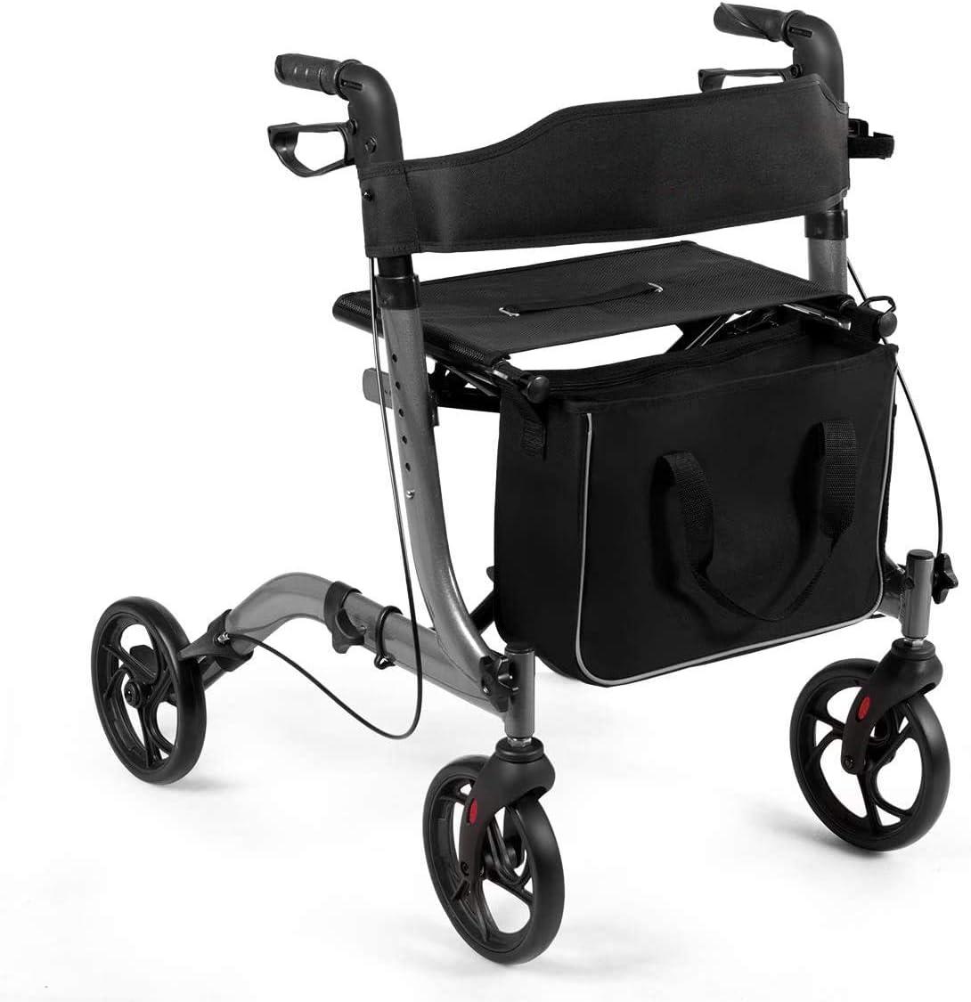 COSTWAY Andador de Aluminio Andador Plegable Ligero Ajustable con Bolsa de Almacenamiento para Mayores y Adultos
