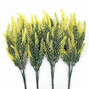 CATTREE Artificial Lavender, Plastic Plants Fake Flowers Bouquet Home Bridal Wedding Office Party Garden Balcony Indoor Outdoor DIY Centerpieces Arrangements Simulation Craft Decoration Yellow 4pcs 49