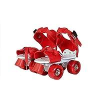 FASNO Sterling Adjustable Roller Skates for Kids Junior Girls Boys Outdoor Sports Games Adjustable Size 16 CMT. to 21 CMT (RED)