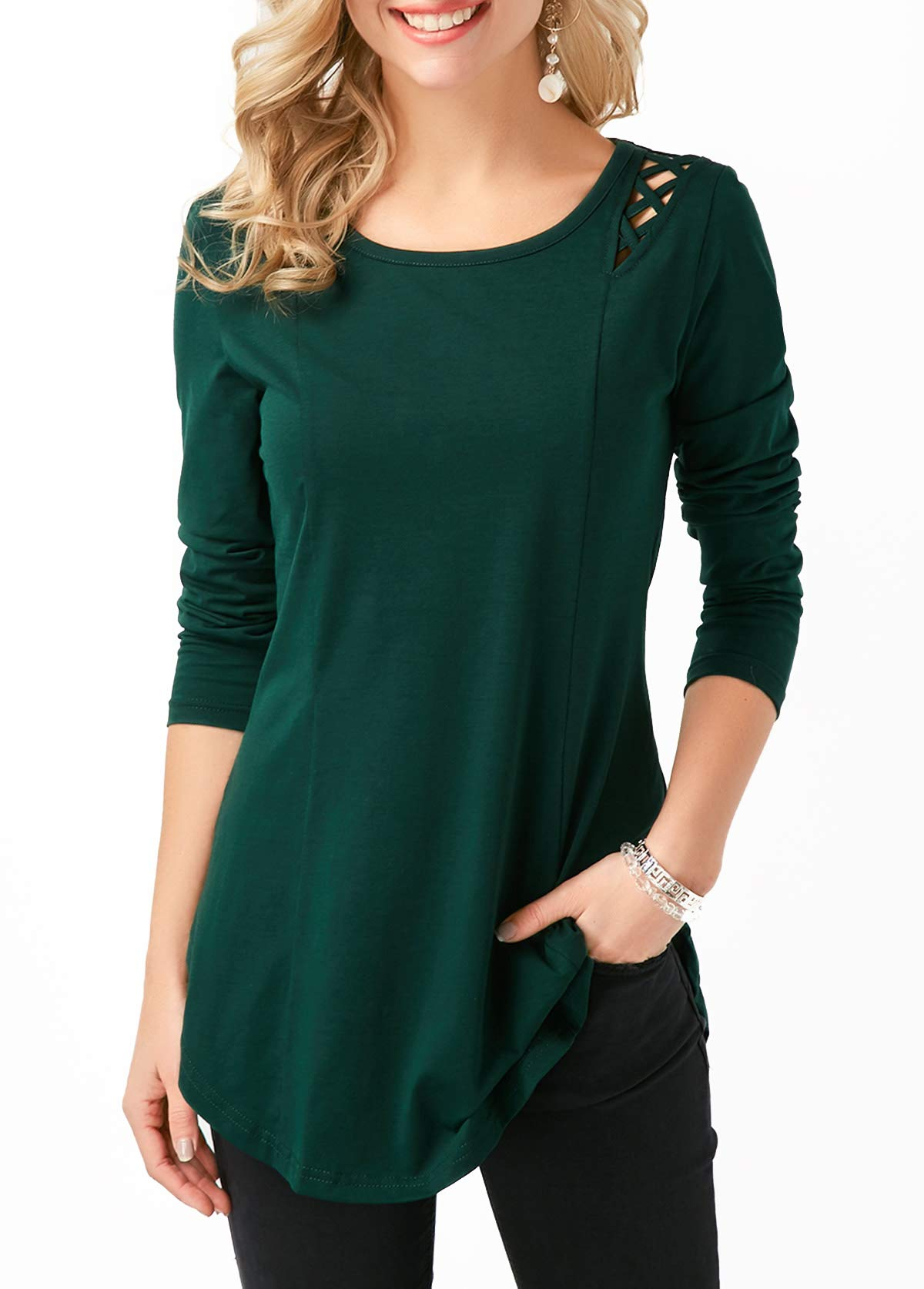 Ksnly Women's Long Sleeve Round Neck Tunic Casual Shirt Tops with Crisscross Detail