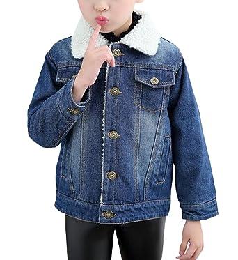 ab2aff6b2ab Amazon.com: MYtodo Kids Girls Lambs Wool Denim Jacket Coat Outerwear ...