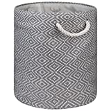 "DII Woven Paper Basket or Bin, Collapsible & Convenient Home Organization Solution for Bedroom, Bathroom, Dorm or Laundry (Medium Round - 14x17""), Gray & White Diamond Basketweave"