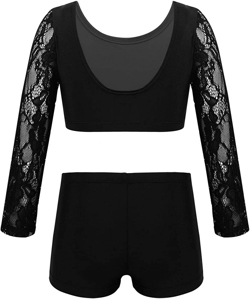 MSemis Kids Girls 2 Pieces Sports Dance Outfits Floral Lace Long Sleeves Crop Tops with Boyshorts Dance Costume